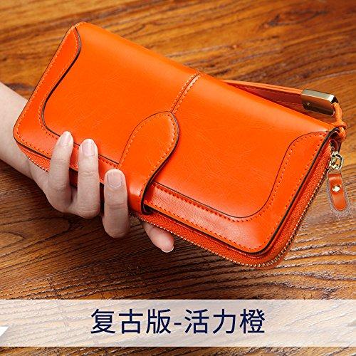 GUNAINDMX Geldbörse Geldbeutel Portemonnaie Damen Brieftasche Lange Abendessen Tasche Damen Clutch Wallet Wallet Vibrant Orange OWKioFov