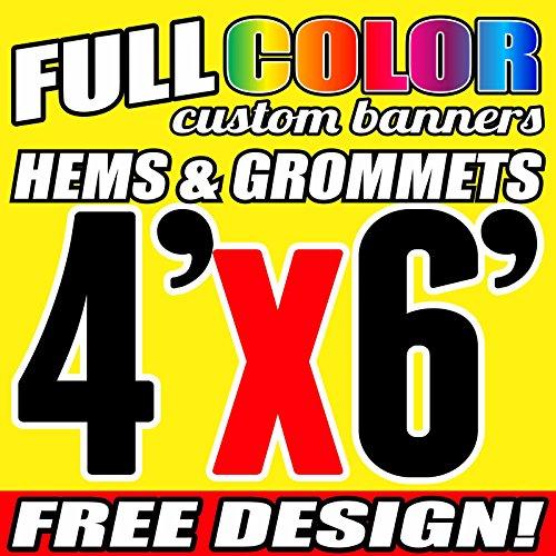 4' X 6' Full Color Printed Custom Banner 13oz Vinyl Hems & Grommets Free Design by uvcenter