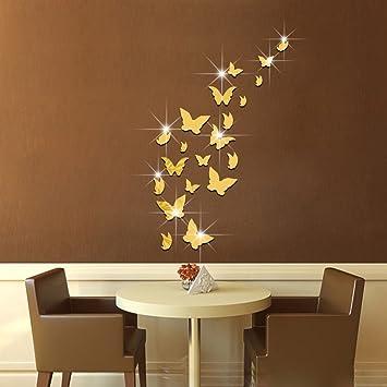 JOEu0026FEI 3D Kristall Spiegel Aufkleber Spiegeln Dekorative Wandmalerei  Butterfly Wand Aufkleber DIY Aufkleber Wohnkultur Kreativen Raum