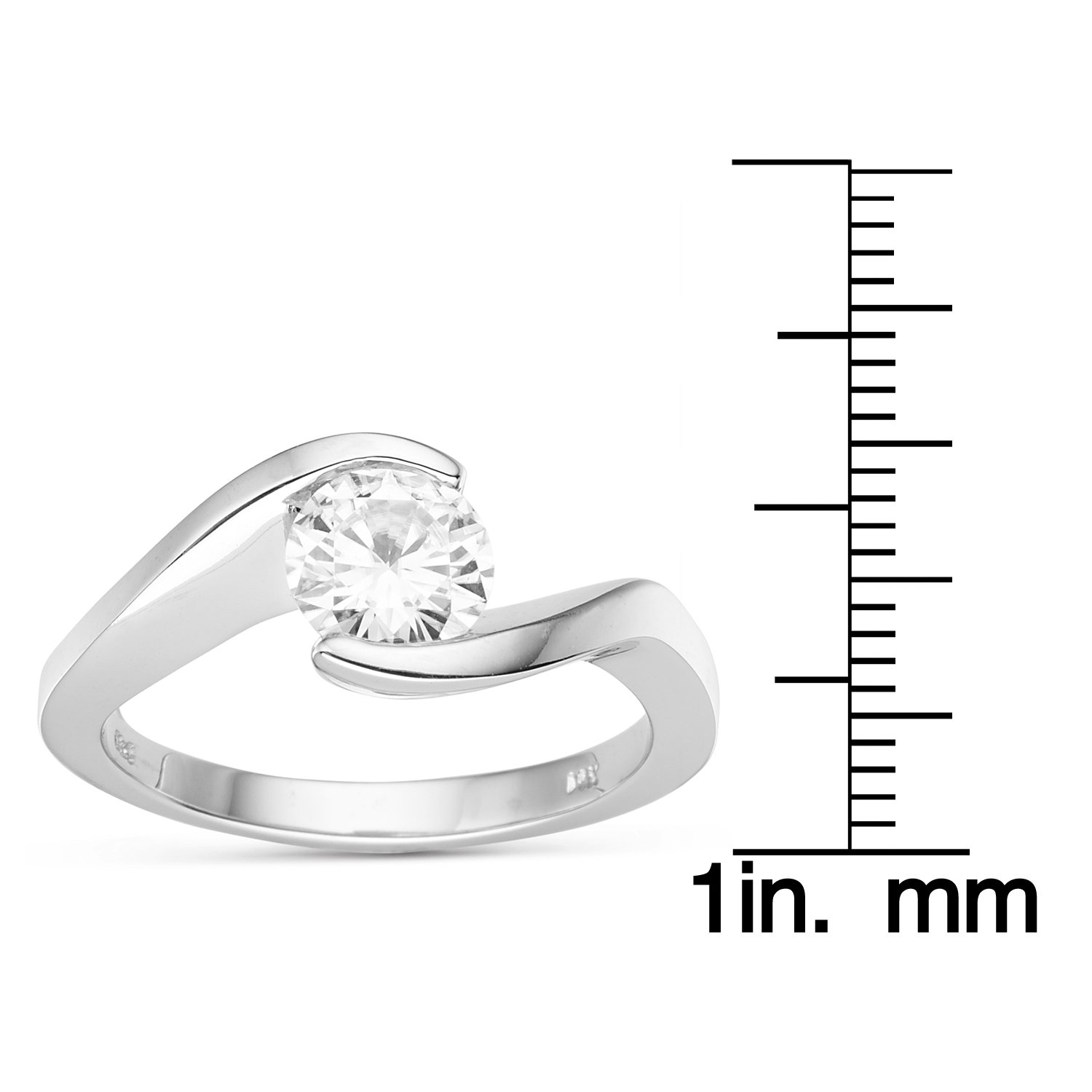 Forever Brilliant Round 6.5mm Moissanite Engagement Ring - size 8, 1.00ct DEW By Charles & Colvard by Charles & Colvard (Image #5)