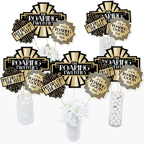 Roaring 20's - 1920s Art Deco Jazz Party Centerpiece Sticks - Table Toppers - Set of 15 ()
