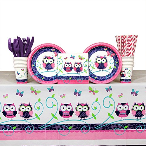 Owl Pal Party Supplies Pack for 16 Guests | Paper Straws, 16 Dinner Plates, 16 Luncheon Napkins, Paper Cups, Coordinated Cutlery and Table Cover | Cute Boy or Girl Birthday Party Owl Tableware Set -