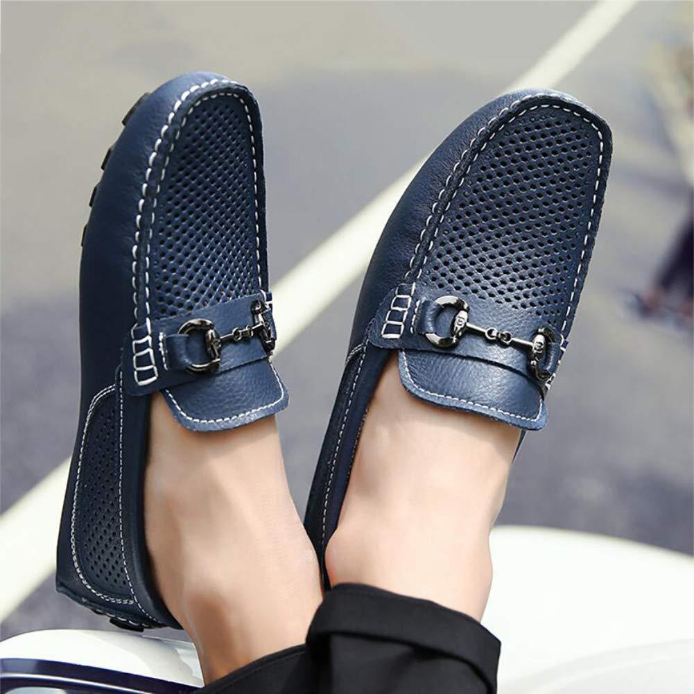HhGold Frühling Sommer Atmungsaktive Loafers Herrenschuhe Herrenschuhe Herrenschuhe Leder Loafers & Slip-Ons Wanderschuhe Bequeme Fahrschuhe Faul Loch Schuhe (Farbe   Blau Größe   EU 40) b8f742