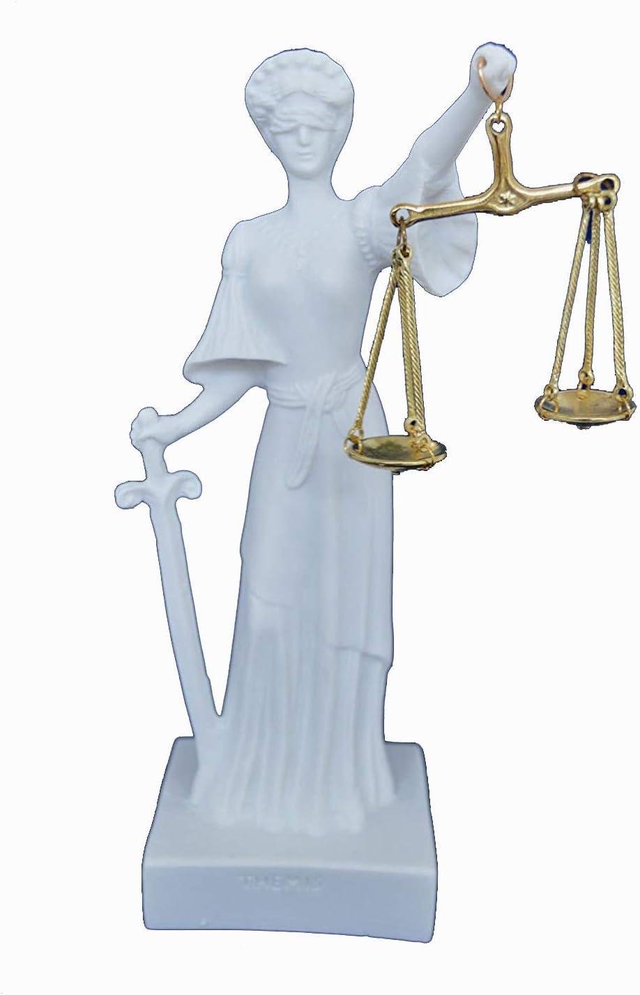 Estia Creations Themis Sculpture D/éesse de la Justice Artefact alb/âtre Statue