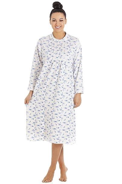 Camille Damen Langarm Nachthemd mit Knopfleiste klassischer Stil Baumwolle - Weiß mit Blumenmuster