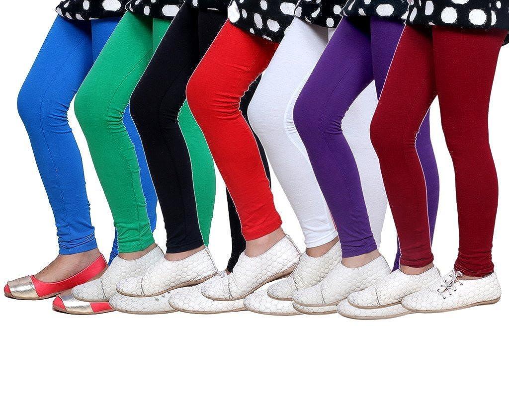 Indistar Little Girls Soft Cotton Leggings Set of -7