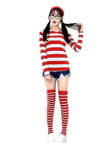 Amazon.com Quesera Womenu0027s Long Sleeve Sweatshirt Whereu0027s Waldo Wenda Wally Costume Outfit Clothing  sc 1 st  Amazon.com & Amazon.com: Quesera Womenu0027s Long Sleeve Sweatshirt Whereu0027s Waldo ...