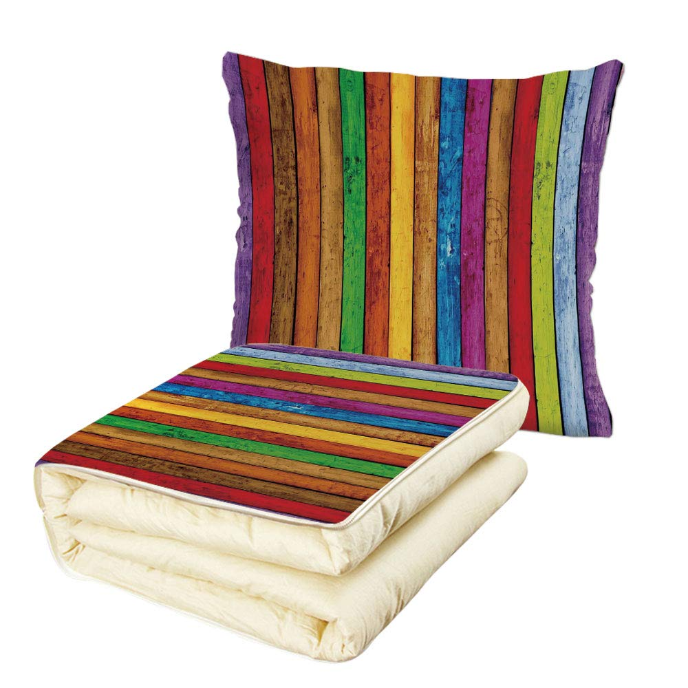 Quilt Dual-Use Pillow Abstract Vibrant Painted Wood Vertical Planks as Background Cheerful Artistic Rainbow Image Multifunctional Air-Conditioning Quilt Multicolor