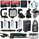 All You Need Accessories Bundle for GoPro HERO4 Hero 4 Black Silver includes 96GB MicroSD + Battery (3 Pack) + Travel Charger + Head Strap + Car Mount + LED Light + Backpack + Selfie Stick + More