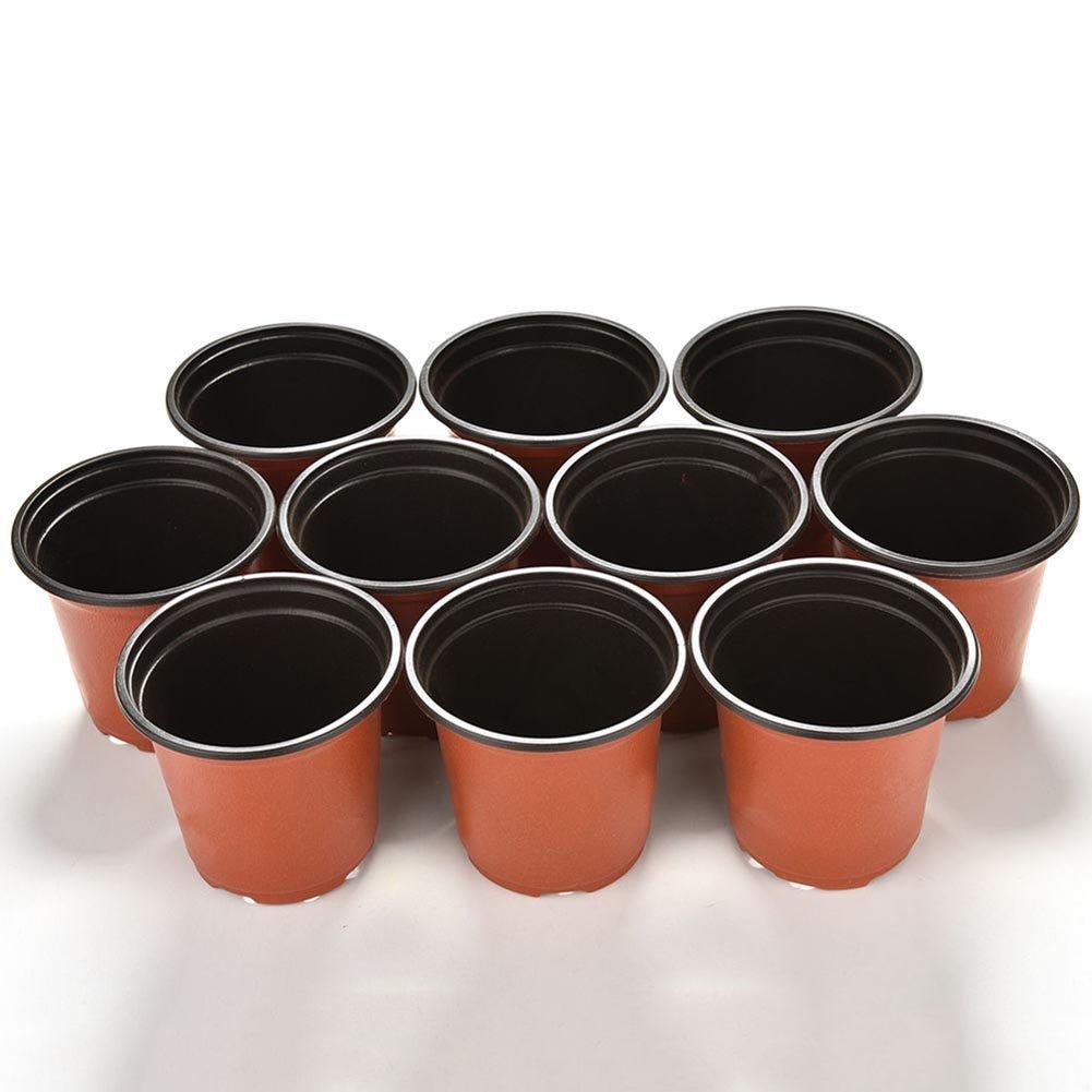 Bluelans® 10 Small Plastic Round Flower Pot Terracotta Plant Pots Nursery Planter Home Decor