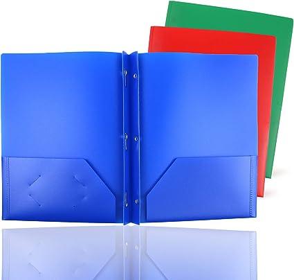 Pack de 3 portafolios de 3 puntas de color sólido RGB con 2 bolsillos, dos bolsillos de plástico para archivos, carpeta de plástico con 3 agujeros, resistente y duradero: Amazon.es: Oficina y papelería