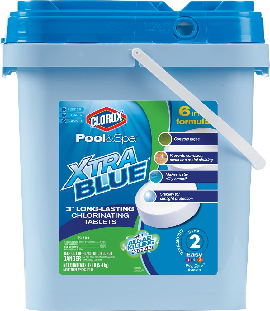CLOROX Pool&Spa 23012CLX XtraBlue 3-Inch Long Lasting Chlorinating Tablets, 12-Pound Chlorine