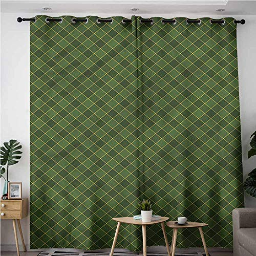 (XXANS Thermal Insulated Blackout Curtains,Green,Old Fashioned Argyle Pattern,Blackout Window Curtain 2 Panel,W84x96L)