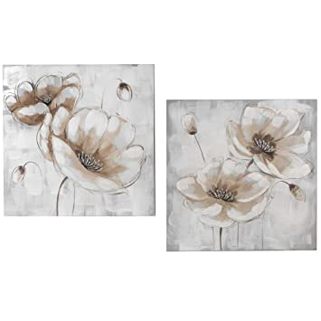 2er SET Wandbilder BLÜTEN je 60x60cm grau creme Formano
