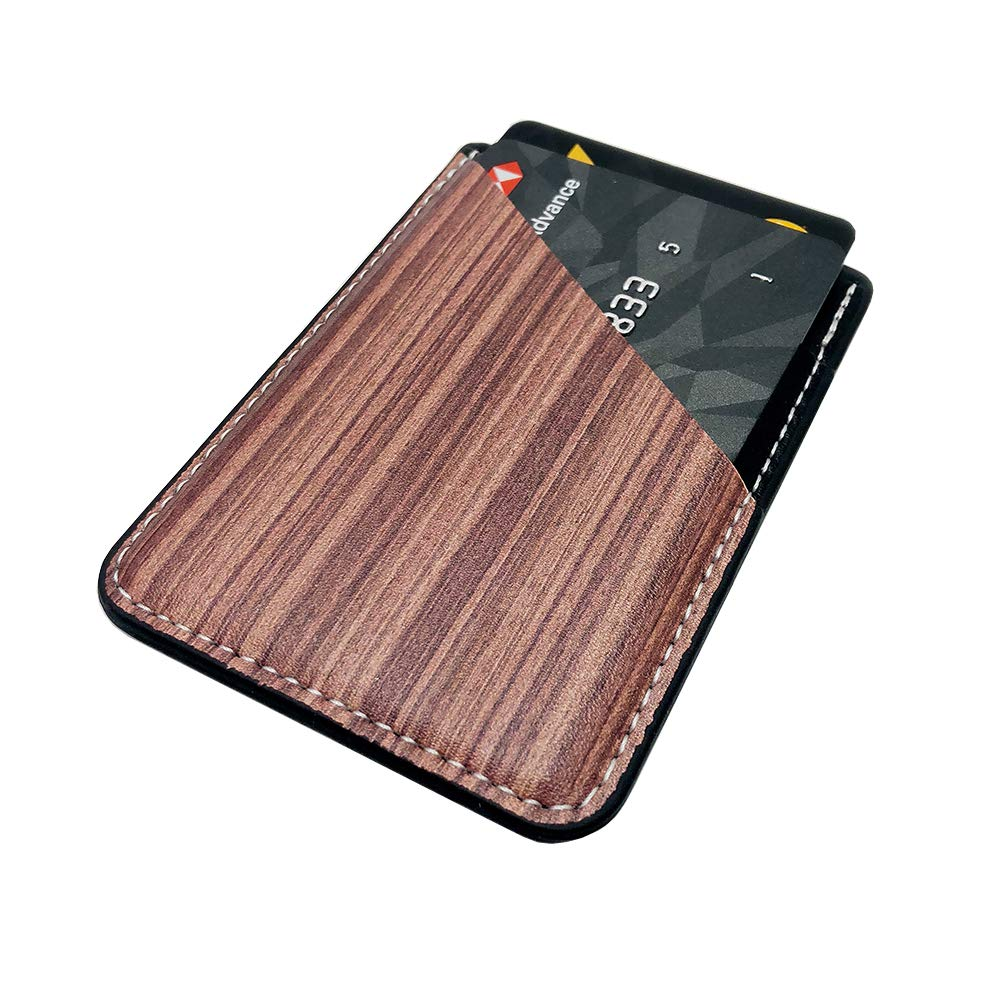 Phone Card Holder Sleeves with Ring uCOLOR Rose Gold PU Leather Wallet Pocket Credit ID Case Pouch 3M Adhesive Sticker Grip Kickstand Compatible with iPhone Xs XR 7 8 Plus