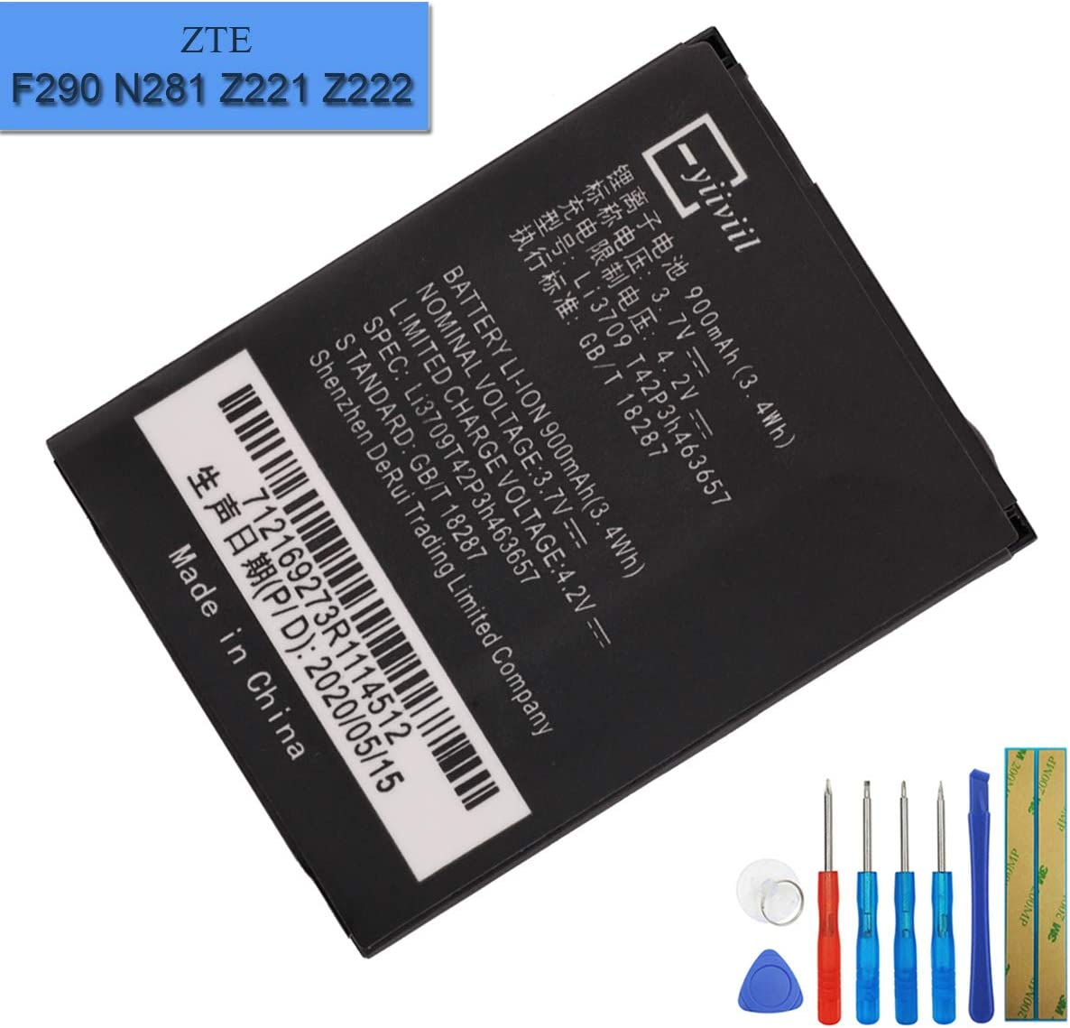 New Replacement Battery li3709t42p3h463657 Compatible with ZTE F290 N281 Z221 Z222 Miami ZTE-G N281 with Tools