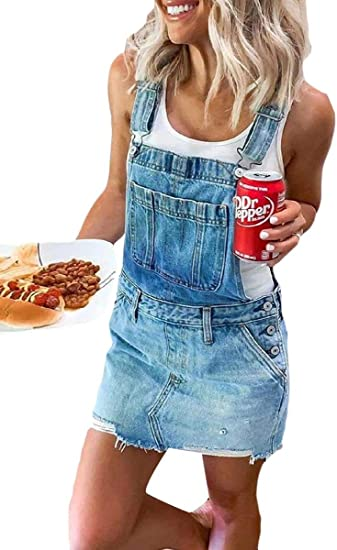 YAXINHE Women Camo Casual Loose Denim Jeans Rompers Overalls