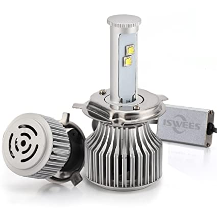 ISWEES H4 (HB2 / 9003) LED Headlight Bulbs (One Pair) All-in-one Conversion Arc-Beam Kit - 120w 9,600Lm 6000K 6K Cool White CREE - 2 Yr Warranty