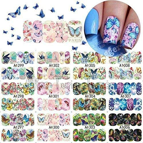 12 sets pink butterflies yellow flower petals NAIL DECALS bohemian flower child hippie NAIL WRAPS psychedelic butterfly koi Hawaii island NAIL STICKERS Samoa Uso MALU TATAU retro acrylic nail art kit -