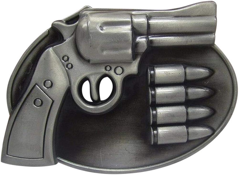 Générique Hebilla para cinturón con pistola y municiones de bola, estaño.
