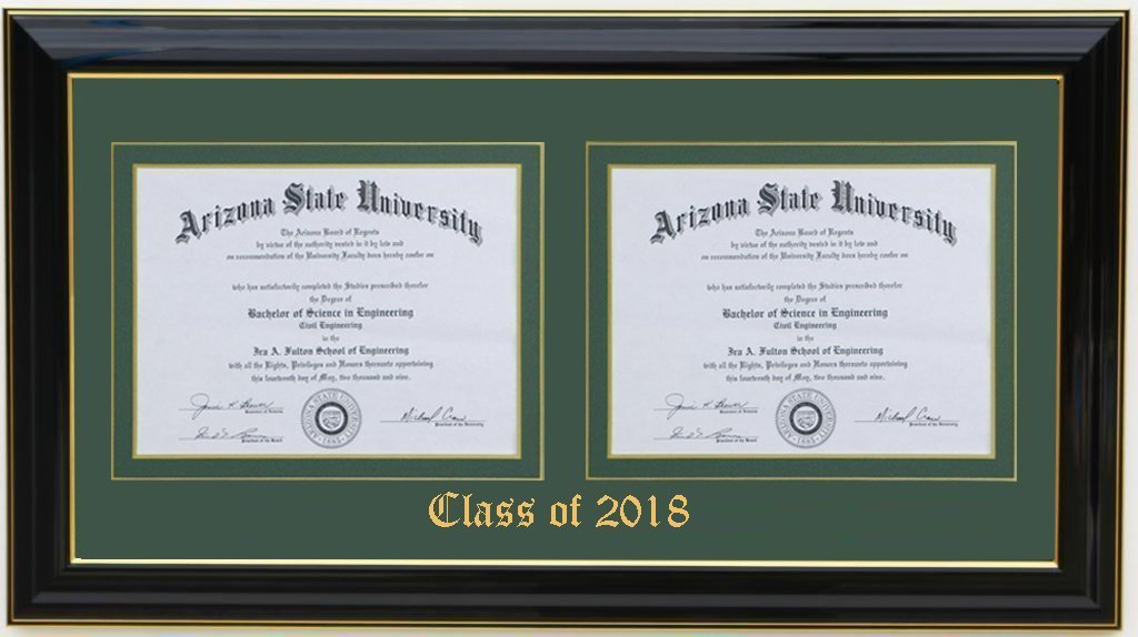 3art Double Diploma Frame 11x8.5 Black (CUSTOMIZABLE)