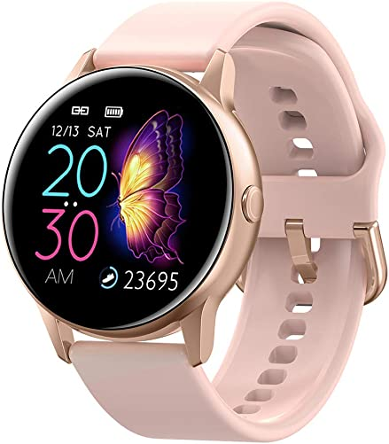 Full Touch Fitness Tracker,Bluetooth Smart Band Fitness Watch, Heart Rate Blood Pressure Monitor IP68 Waterproof Wrisband with Pedometer Outdoor Sport Bracelet for Android iOS Gold, Silicone Strap