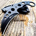 "7"" TACTICAL COMBAT Karambit Claw FIXED BLADE KNIFE Army Hawkbill w/ SHEATH BLACK"