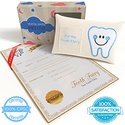 - CHERISHED KID Tooth Fairy Pillow Kit for Boys with Pouch and Letter Note – Keepsake Box Makes it a Great Gift Idea for Kids
