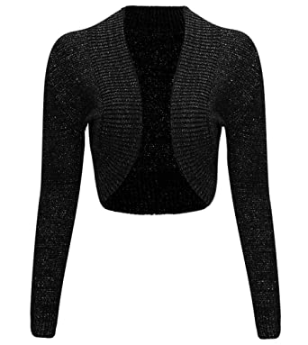 Thever Women Ladies Long Sleeve Knitted Metallic Lurex Shrug ...