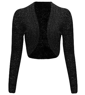 Thever Women Ladies Long Sleeve Knitted Metallic Lurex Shrug ...