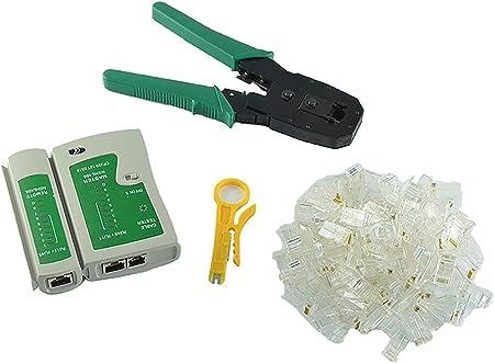 100 Rj45 Cat5 Cat5e Connector Plug Network Tool Kit Crimp Crimper Cable Tester