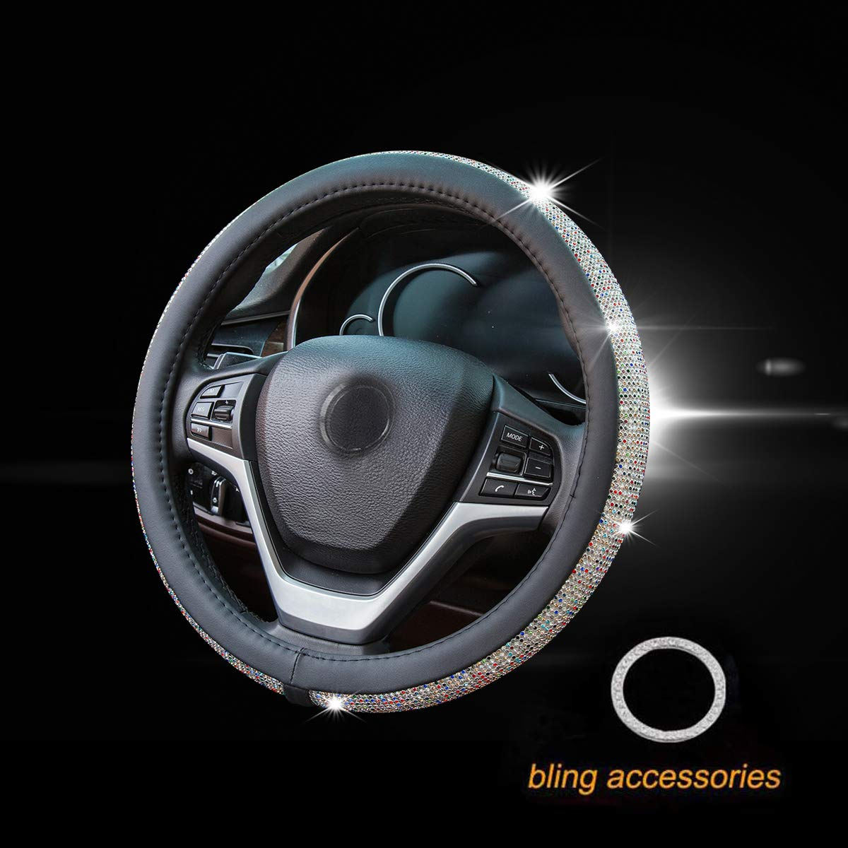 New Diamond Leather Steering Wheel Cover with Bling Bling Crystal Rhinestones, Universal Fit 15 Inch Anti-Slip Wheel Protector for Women Girls (Black Color Diamond)