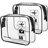 2pcs/pack Lermende Clear Toiletry Bag TSA Approved Travel Carry On Airport Airline Compliant Bag Quart Sized 3-1-1 Kit Luggag