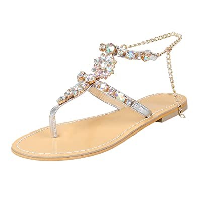 YE Damen Zehentrenner T Strap Sandalen Flach Sandaletten mit Glitzer Strass Hochzeit Braut Sommer Schuhe