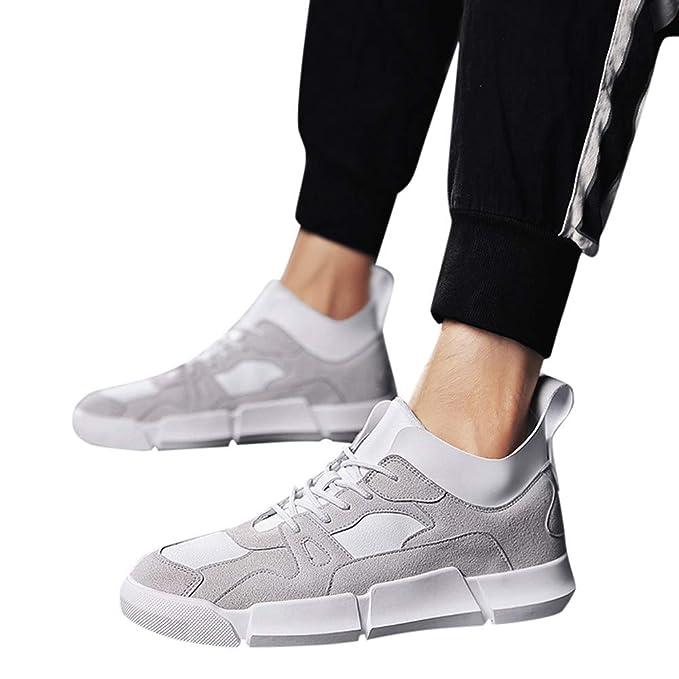 JiaMeng Zapatos de Deporte Casuales Deportes Que se Ejecutan con Cordones Remiendo Deporte Zapatillas Gimnasia Padel para Hombre Transpirable Caminar: ...