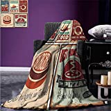 Anhuthree Digital Printing Blanket 1950s Decor Nostalgic Tin Signs and Retro Mexican Food Prints Aged Advirtising Logo Style Artistic Design Summer Quilt Comforter 80''x60'' Multi