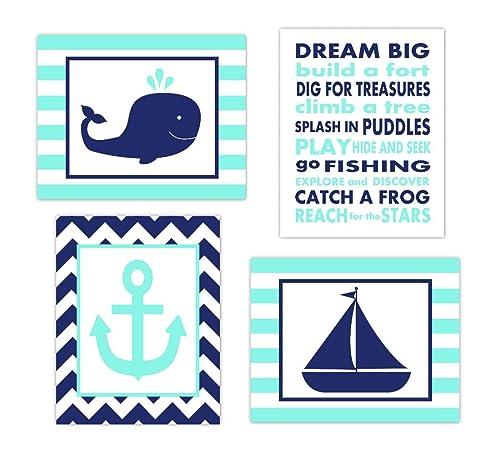 Nautical nursery print Blue nursery decor Lighthouse art for boys room Playroom decor Kids wall art Blue Wall art Printable wall art