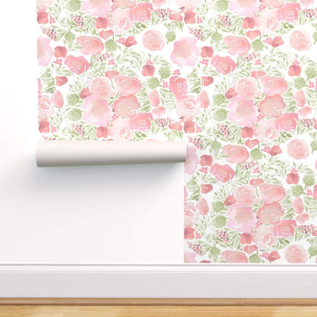 Spoonflower Peel And Stick Removable Wallpaper Blush Bouquets