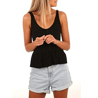 0e2f756887947 Paymenow Women Girls Solid Low Cut Neck Sexy Vest Camisole Fashion Hollow  Out Ruffled Hem Tank