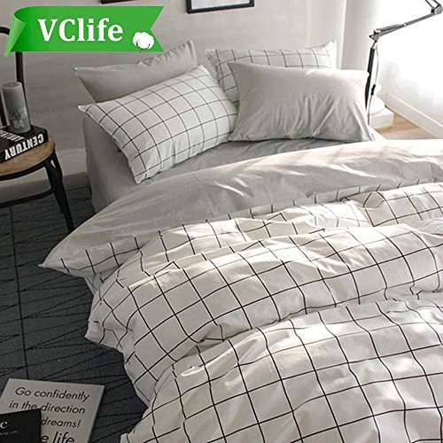 VClife Queen/Full Duvet Cover Set Cotton Bedding Set Collection with 2 Pillow Shams Grey White Checkered Style (Checkered Sheets)