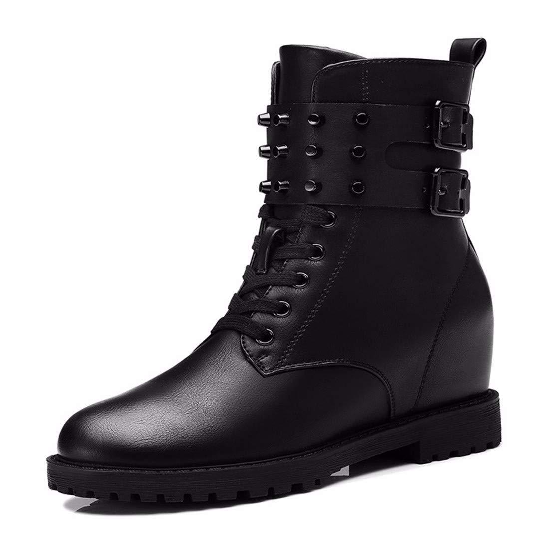 BeatinToes Damen Winter Warm Anti Slip Wasserdicht Künstliche Pu Martin Stiefel Hoch Casual Schuhe Stiefel Mit Flachem Boden