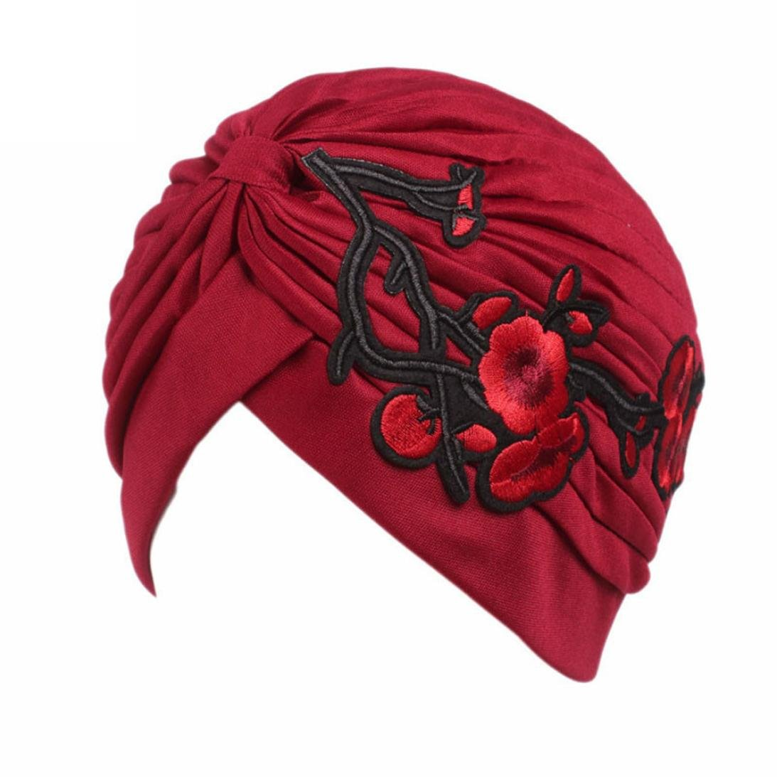 9b2c41e1843 QingFan Women Girl Floral Flower Embroidery Chemo Hat Beanie Turban Head  Wrap Cap for Cancer (Black) at Amazon Women s Clothing store