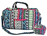 22'' Quilted Duffel Cotton Carry On Bag with 7'' Cosmetic Bag