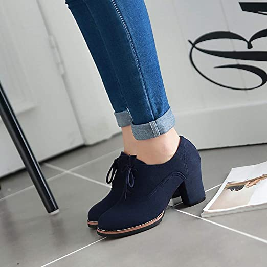 Amazon.com: Newest Womens Chunky Booties,Sunyastor Fashion Lace-Up High Thick Boots Flock Ankle Boots Round Toe Casual Walking Shoes: Electronics