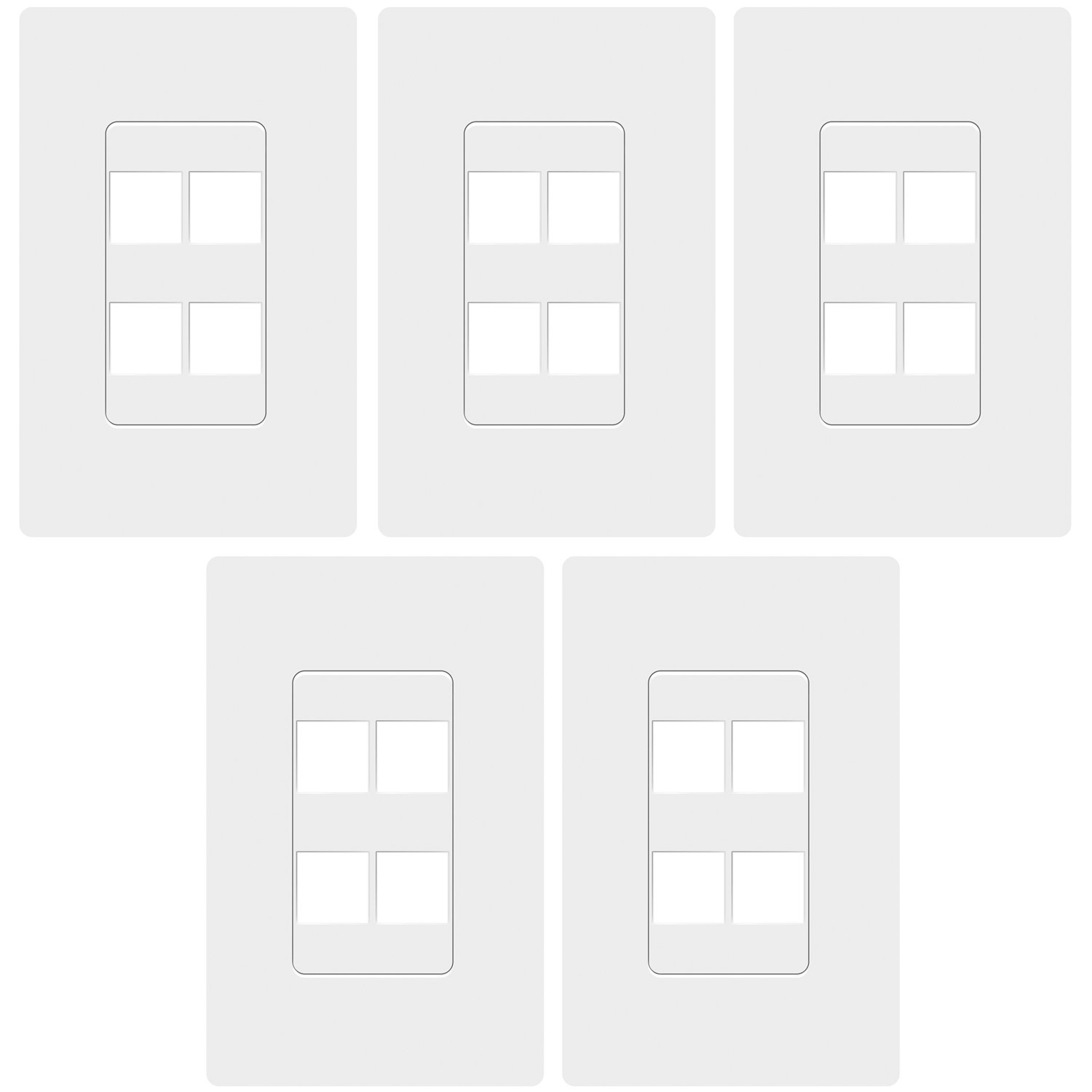TOPGREENER SI8874 (5 Pack) 4 Port Keystone Wall Plate, Keystone Jack Wall Plate, Wall Plate Screwless, Cat5e Keystone Jack Cat6 Compatible, Child Safe, Unbreakable, White