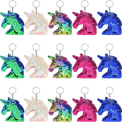 Flip Sequin Unicorn Keychains Colorful Unicorn Key Chain for Handbag Purse Party Embellishment (Color Set 1, 15 Pieces)