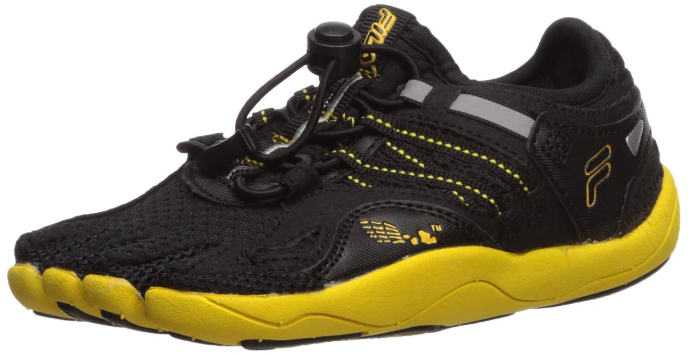 Fila Kids' Skele-Toes Bay Rnr 3 Water Shoe, BLACK/LEMON/METALLIC SILVER, 1 M US Little Kid
