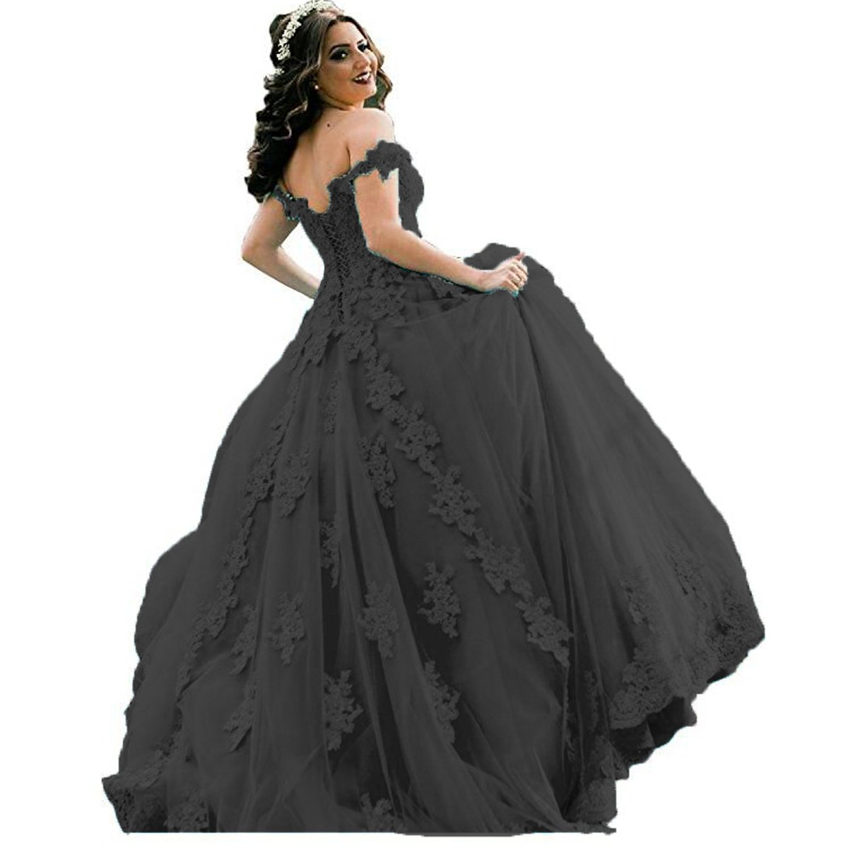 38b3b474f8d Yuxin Gorgeous Lace Off Shoulder Princess Ball Gown Quinceanera Dresses  Beaded Long Prom Dress Party Gowns at Amazon Women s Clothing store