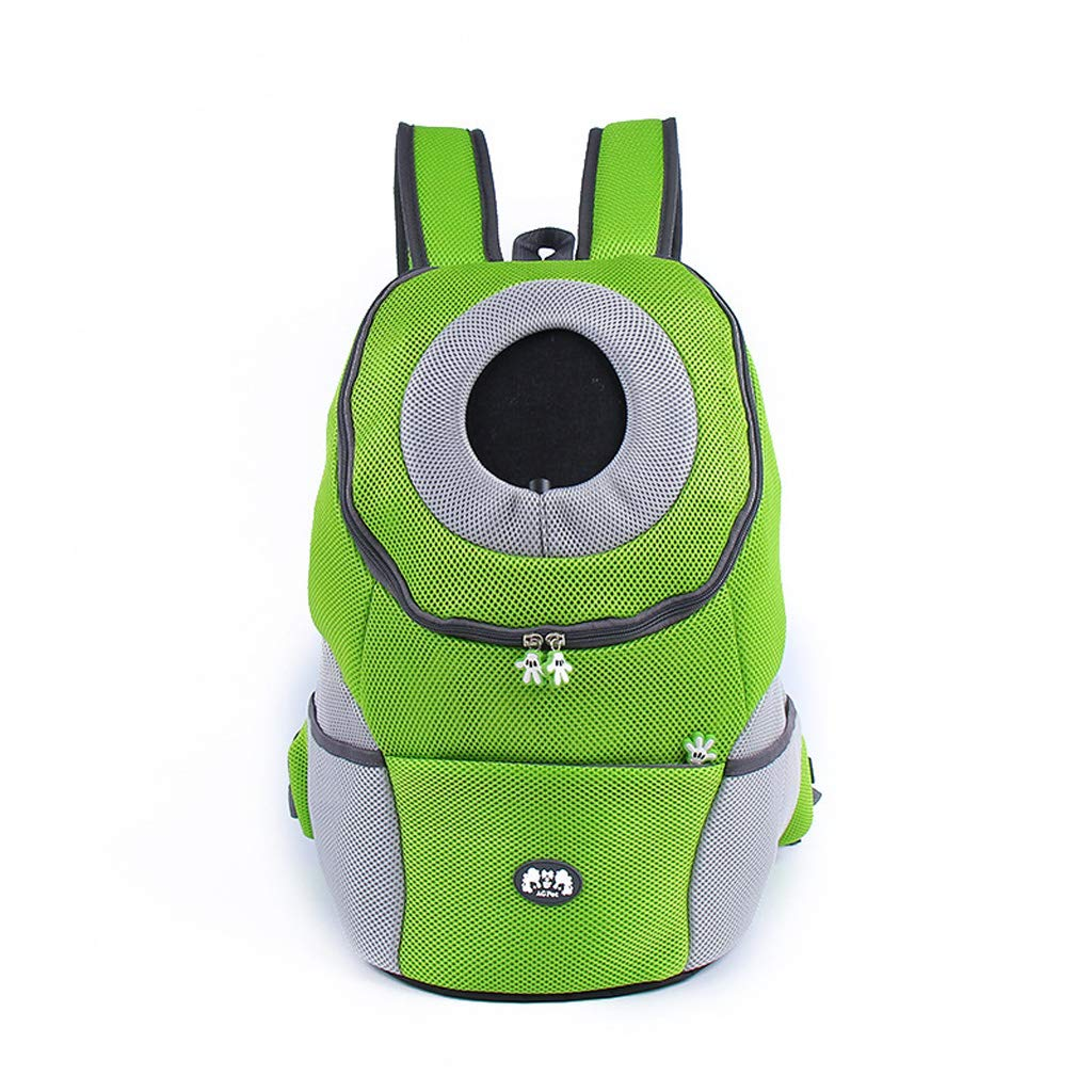 GREEN L GREEN L Pet Backpack Carrie Breathable Carrying Bag Dog Portable Car Outing Front Chest Out