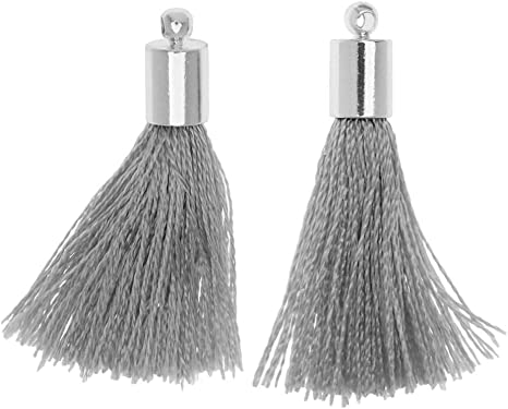 2 Pieces Beadaholique Silk Rayon Thread Pendant Tassel with End Cap 30mm Silver and Black